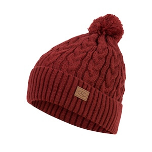 BEIRA LINED BOBBLE HAT - DARK RED